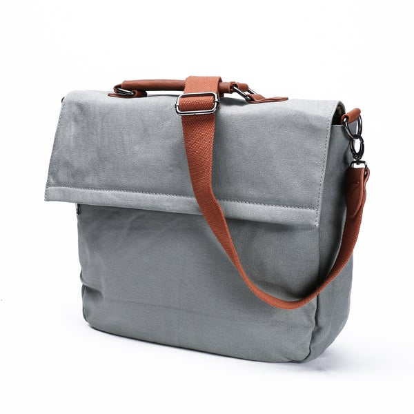 Something Strong Grey Canvas Tablet Messenger Bag
