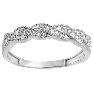 14k White Gold 1/4ct TDW Diamond Vintage Band Swirl Ring (I-J, I2-I3)
