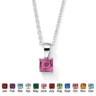 "PalmBeach Simulated Princess-Cut Birthstone Sterling Silver Pendant Necklace 18"" Color Fun"
