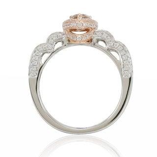 Suzy Levian 14K White Rose Brown Diamond Ring