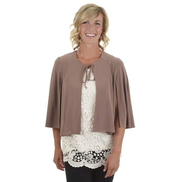 Journee Collection Women's Tie Front Bolero Cape Jacket