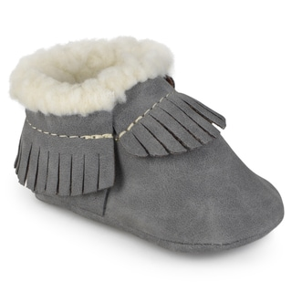 Journee Kid's Fleece Lined Faux Leather Moccassin Booties