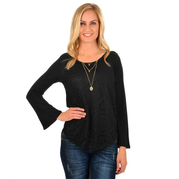 Journee Collection Women's Long Sleeve Crochet Tee