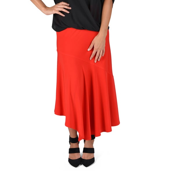 Journee Collection Women's Stretchy Asymmetrical Hem Maxi Skirt