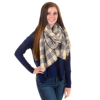 Journee Collection Women's Fringed Plaid Blanket Scarf
