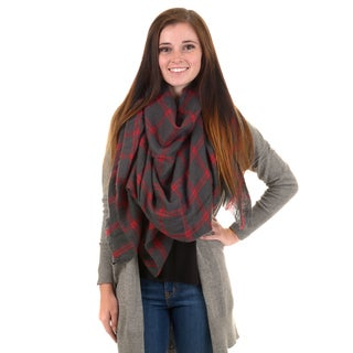 Journee Collection Women's Fringed Windowpane Blanket Scarf