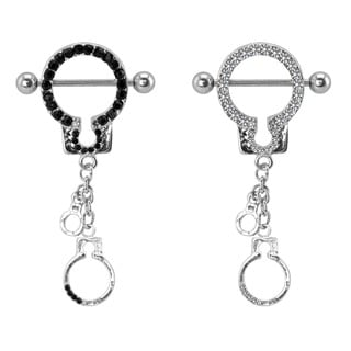Supreme Jewelry Steel Cubic Zirconia Hand Cuff Nipple Shield (Set of 2 Pairs)