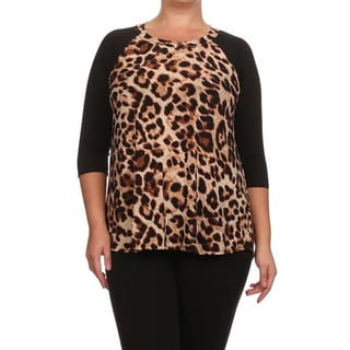 MOA Collection Women's Plus Size Animal Print 3/4 Sleeve Top