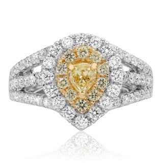 18k Two-tone Gold 1 3/5ct TDW Fancy Yellow and White Diamond Ring (F-G, SI1-SI2)