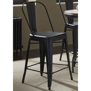 Heavy Distressed Metal Bow Back Barstool