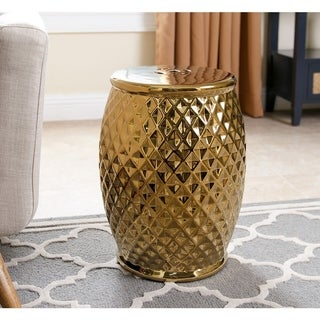 ABBYSON LIVING Marina Tufted Gold Chrome Ceramic Garden Stool