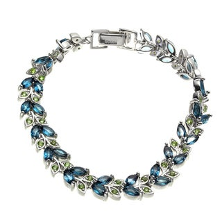 Sterling Silver 7.82ct Peridot and London Blue Topaz Line Bracelet