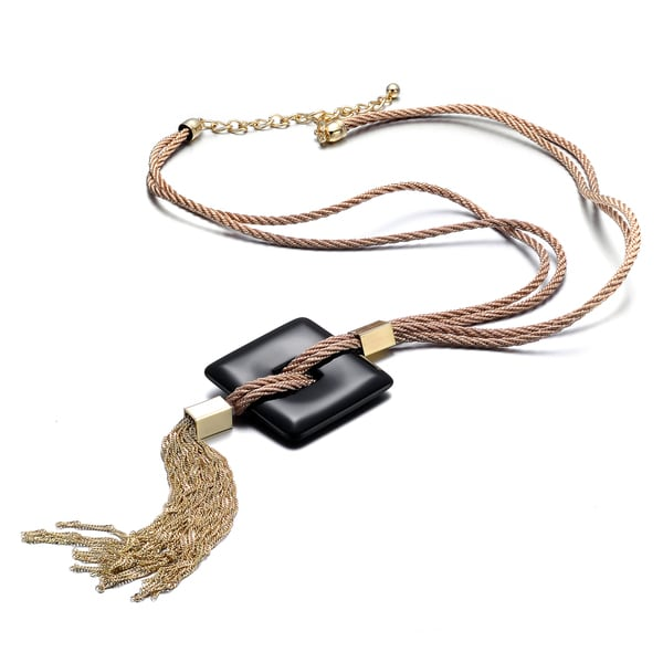 Alberto Moore Fashion Jewelry Khaki and Goldtone Square Tassel Necklace