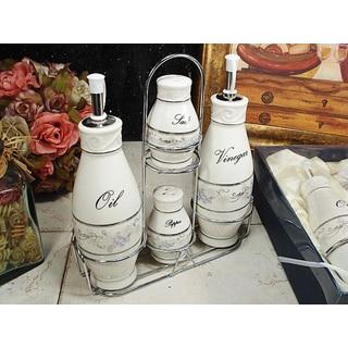 D'Lusso Designs Grape Design 4-piece Oil Vinegar Salt Pepper Set with Metal Caddy
