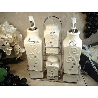 D'Lusso Designs Deco Design 4-piece Oil Vinegar Salt Pepper Set with Metal Caddy