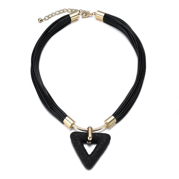 Black/ Goldtone Triangle Cutout Fashion Pendant Necklace