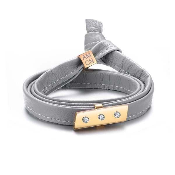 Alberto Moore Genuine Soft Multiwrap Glacier Grey Leather with a Studded Bar Bracelet