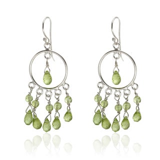 Sterling Silver 2-inch 12.72ct Peridot Bead Dangle Earrings