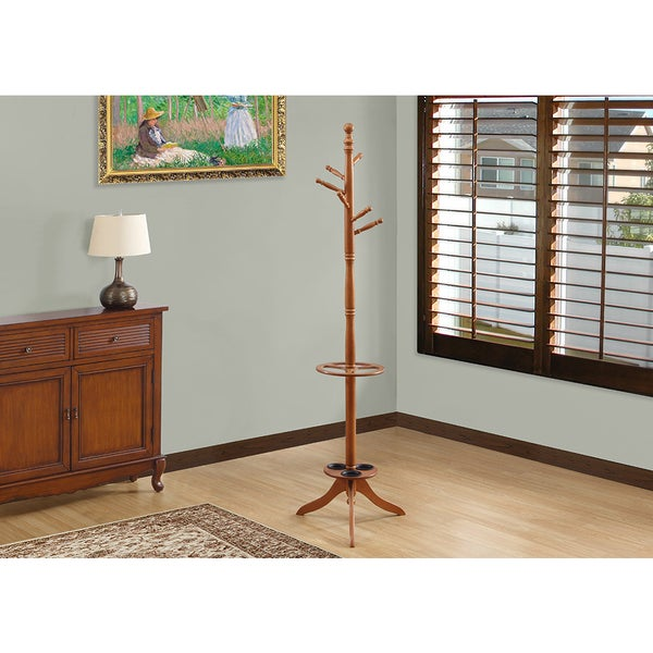 "Oak 71""High Coat Rack With Umbrella Holder"
