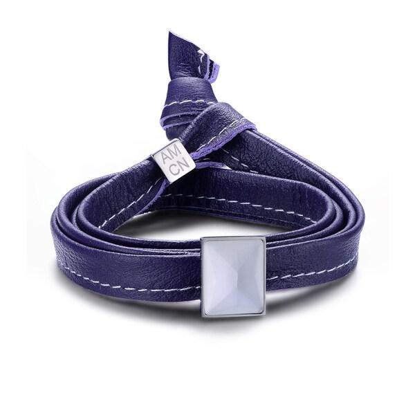 Alberto Moore Genuine Soft Amethyst Orchid Multi-wrap Leather with an Oblong Bezel-set Stone Bracelet