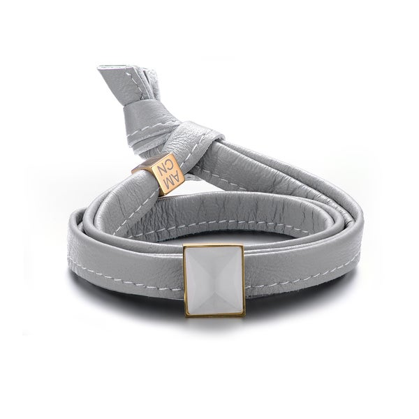 Alberto Moore Goldtone and Genuine Soft Glacier Grey Leather with Cubic Zirconia Multi-wrap Bracelet