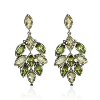Sterling Silver 1.25-inch 10.20ct Peridot and Lemon Quartz Earrings