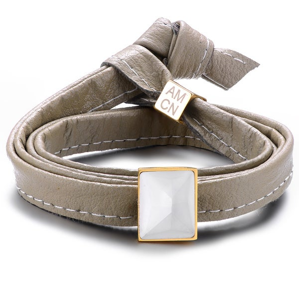 Alberto Moore Genuine Soft Paloma Grey Leather With Cubic Zirconia Multi-wrap Bracelet