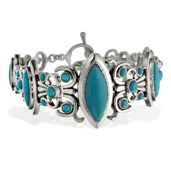 Sterling Silver Turquiose Toggle Bracelet