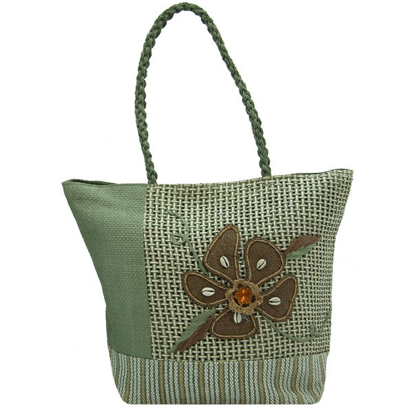 Green Linen Floral Tote Bag