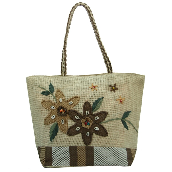 Natural Linen Brown Floral Tote Bag