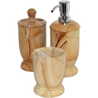 Nature Home DecorTeakwood Marble 3-Piece Bathroom Accessory Set of Atlanic Collection.