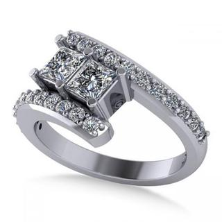 14k Gold Princess-cut Diamond Bypass Split Shank Two Stone Ring 1.28ct (G-H, SI1-SI2)