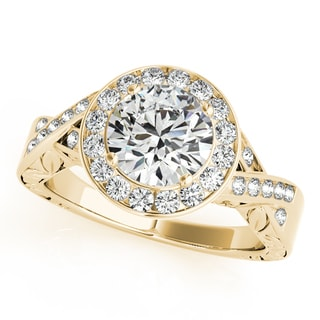 14k Gold Infinity Antique Style Halo Diamond Engagement Ring 1.70ct (G-H, SI1-SI2)