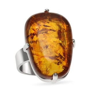 Sterling Silver 7.6ct 24x16mm Oval Amber Elongated Ring