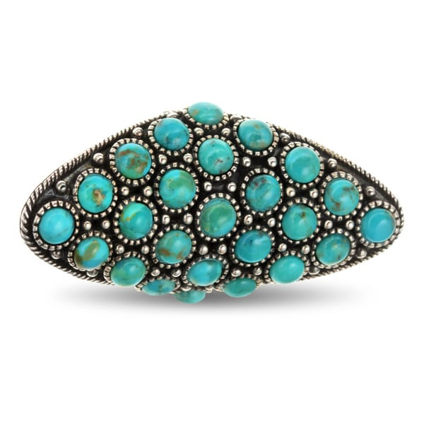 Sterling Silver 5.75ct Round Turquoise Oxidized Elongated Sheild Ring