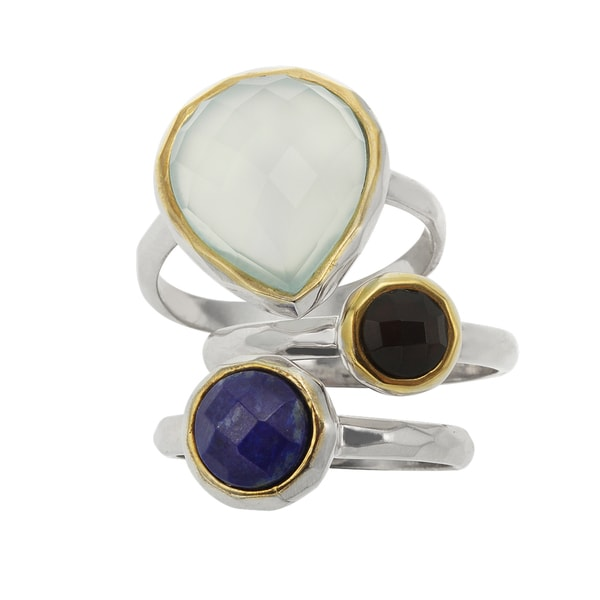 Sterling Silver 4.896ct Two Tone Multi Stack Band Rings