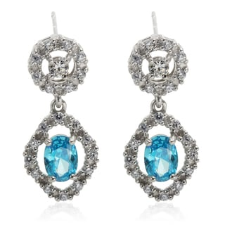 Sterling Silver Platinum Embraced Simulated Blue Topaz and Simulated Diamond Earrings