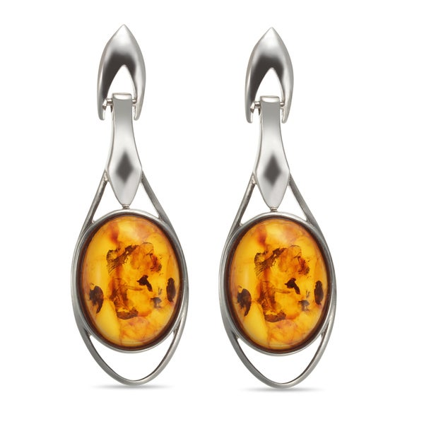 Sterling Silver 1.75-inch 16x12mm Oval Amber Drop Earrings