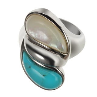 Sterling Silver 2.98ct 17x7mm Mother of Pearl and Turquoise Ring