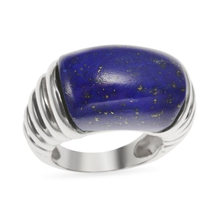 Sterling Silver 13.9ct 18x13mm Lapis Ribbed Shank Ring