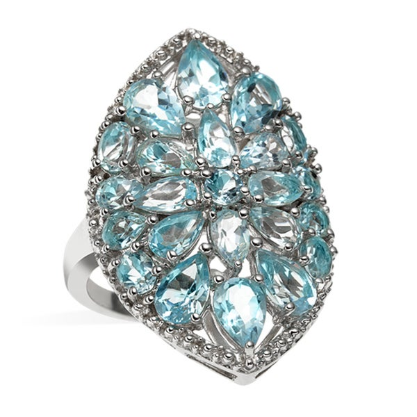 Sterling Silver 6.35ct Multi Shaped Sky Blue Topaz Shield Ring