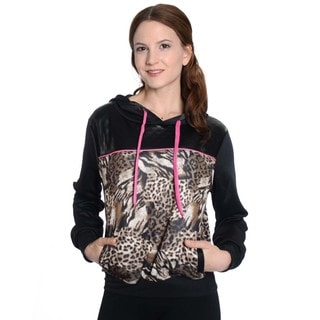 Women's Pull Over Scuba Quilted Animal Print Sweatshirt with Front Pockets