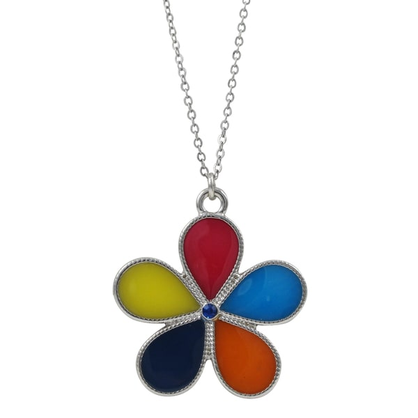 Rhodium Finish Multi Color Enamel Pendant Necklace
