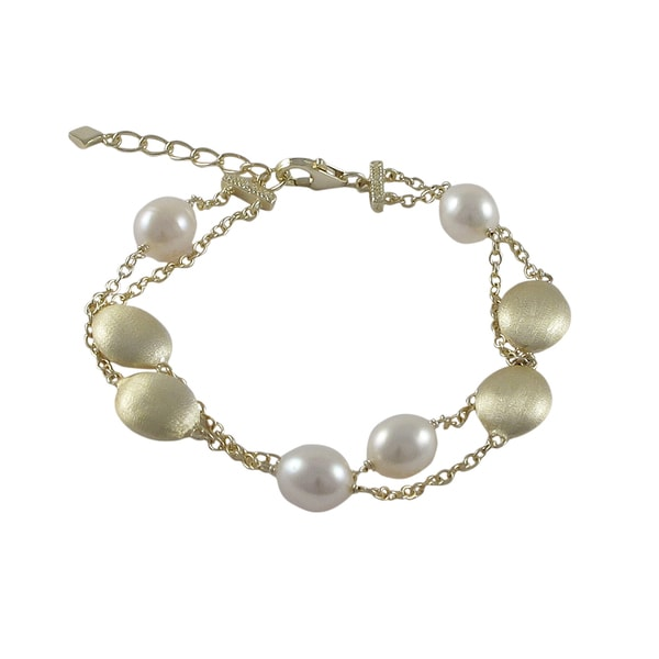 Brushed Gold Finish Freshwater Pearl Ovals Two-row Bracelet