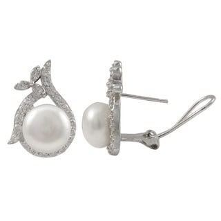Sterling Silver Freshwater Pearl Cubic Zirconia Halo Earrings