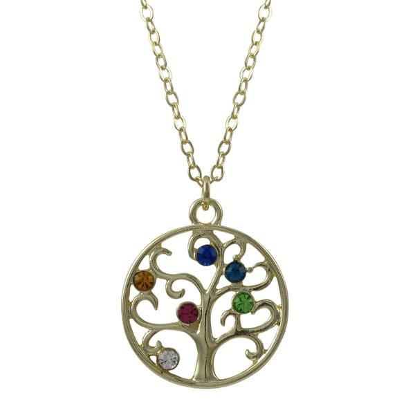 Gold Finish Multi-color Crystals Tree of Life Pendant Necklace
