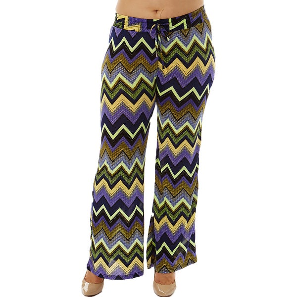 Women's Plus Size Purple Zigzag Print Drawstring Waist Palazzo Pants
