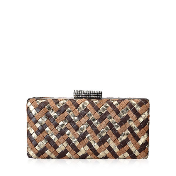 Jasbir Gill Brown/ Tan/ Gold Leather Clutch