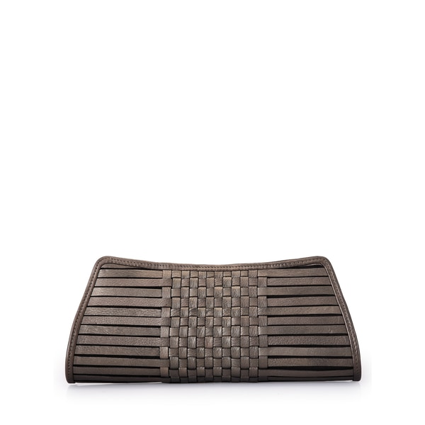 Jasbir Gill Brown Weave Leather Clutch