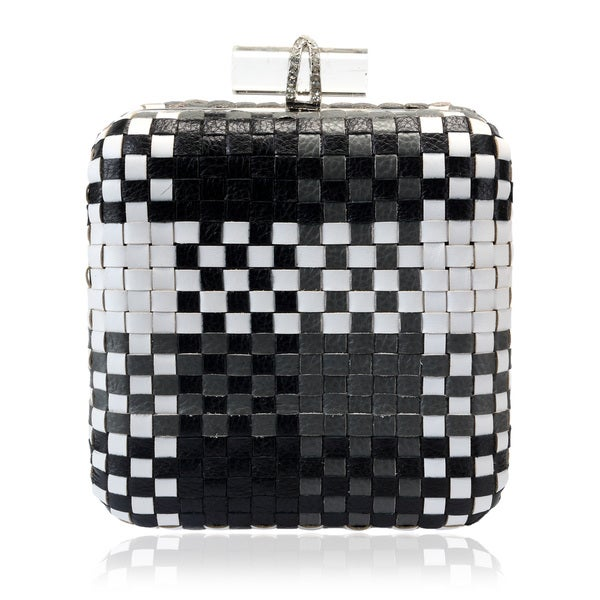 Jasbir Gill Black/ White Weave Leather Clutch